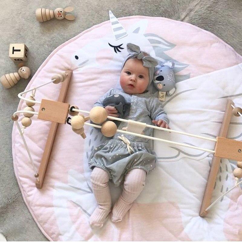 INS 90 CM enfants jouer jeu tapis tapis rond tapis tapis coton cygne ramper couverture tapis de sol pour enfants chambre décoration bébé cadeaux
