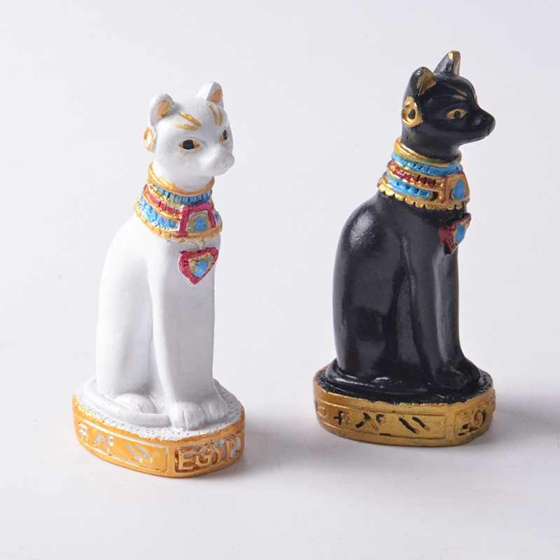 Mini résine égyptienne egypte chat Statue sculpté à la main Figurines de collection chat dieu décor à la maison ornements voiture hôtel affichage