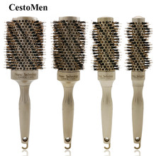 CestoMen Metal Round Barrel Boar Bristle Combs Professional Hair Brushes High Temperature Resistant Styling Brush For Curly Hair