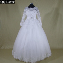 QQ Lover font b Wedding b font Dress with Long Sleeves Lace Robe De Mariage Real