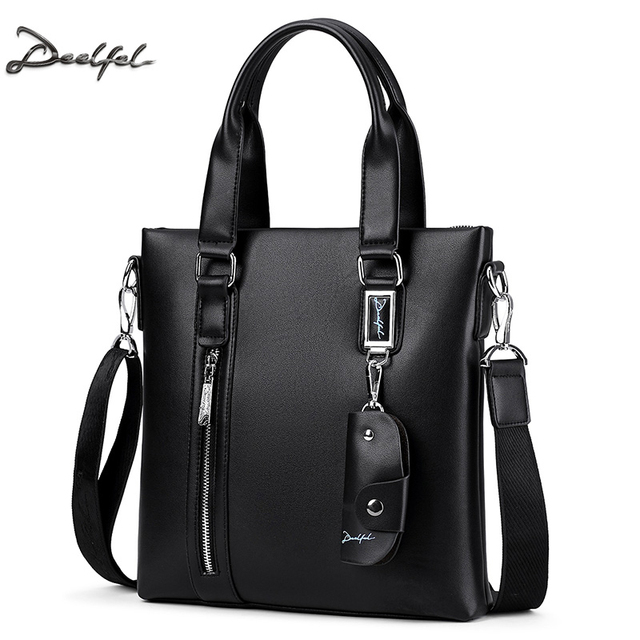 DEELFEL Fashion Men Tote Casual Briefcase Cowhide Leather Messenger Bag  High Quality Ipad Pack Shoulder Handbags Crossbody Bags