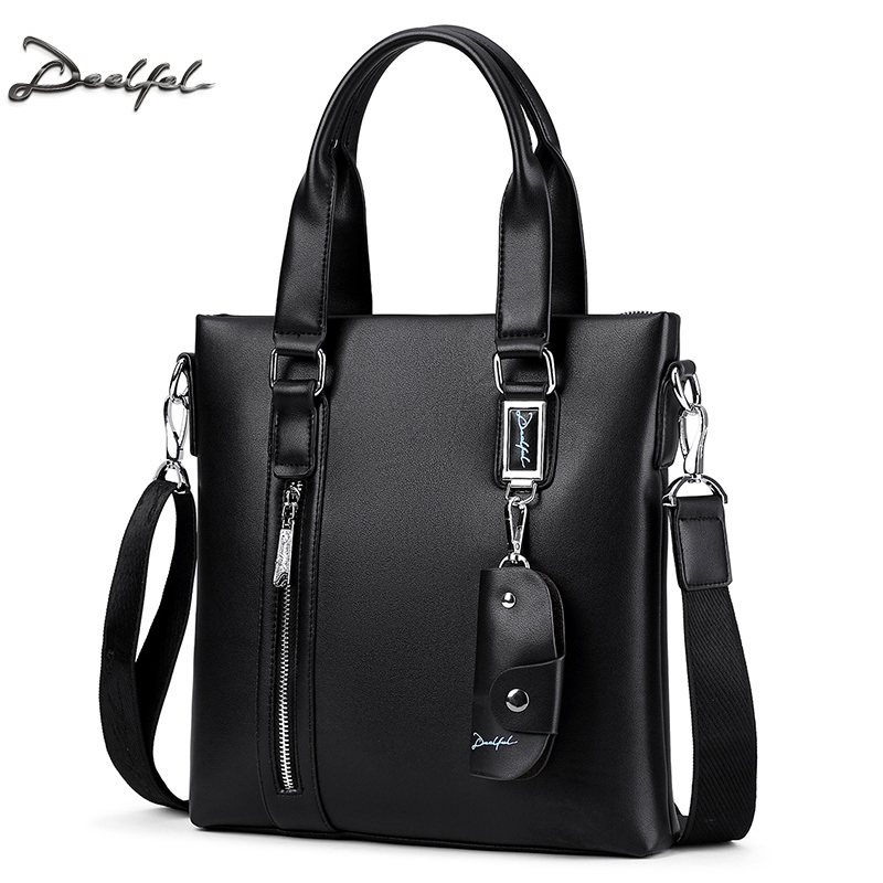 DEELFEL Fashion Men Tote Casual Briefcase Cowhide Leather Messenger Bag High Quality Ipad Pack Shoulder Handbags Crossbody Bags