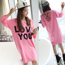 plus big size blusas feminina spring summer 2017 korean women New sexy hole backless loose letters tshirts female A2741