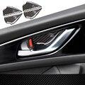 4 pçs/lote Interior Porta Tigela Tampa Guarnição Decorativa Decalques De Fibra De Carbono tiras Para Mazda 3 AXELA M3 2014 2015 2016 carro styling