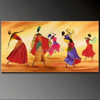 Hand Painted Modern Folk Dance Pictures On Canvas Oil Painting For Room Wall Decor Abstract Painting
