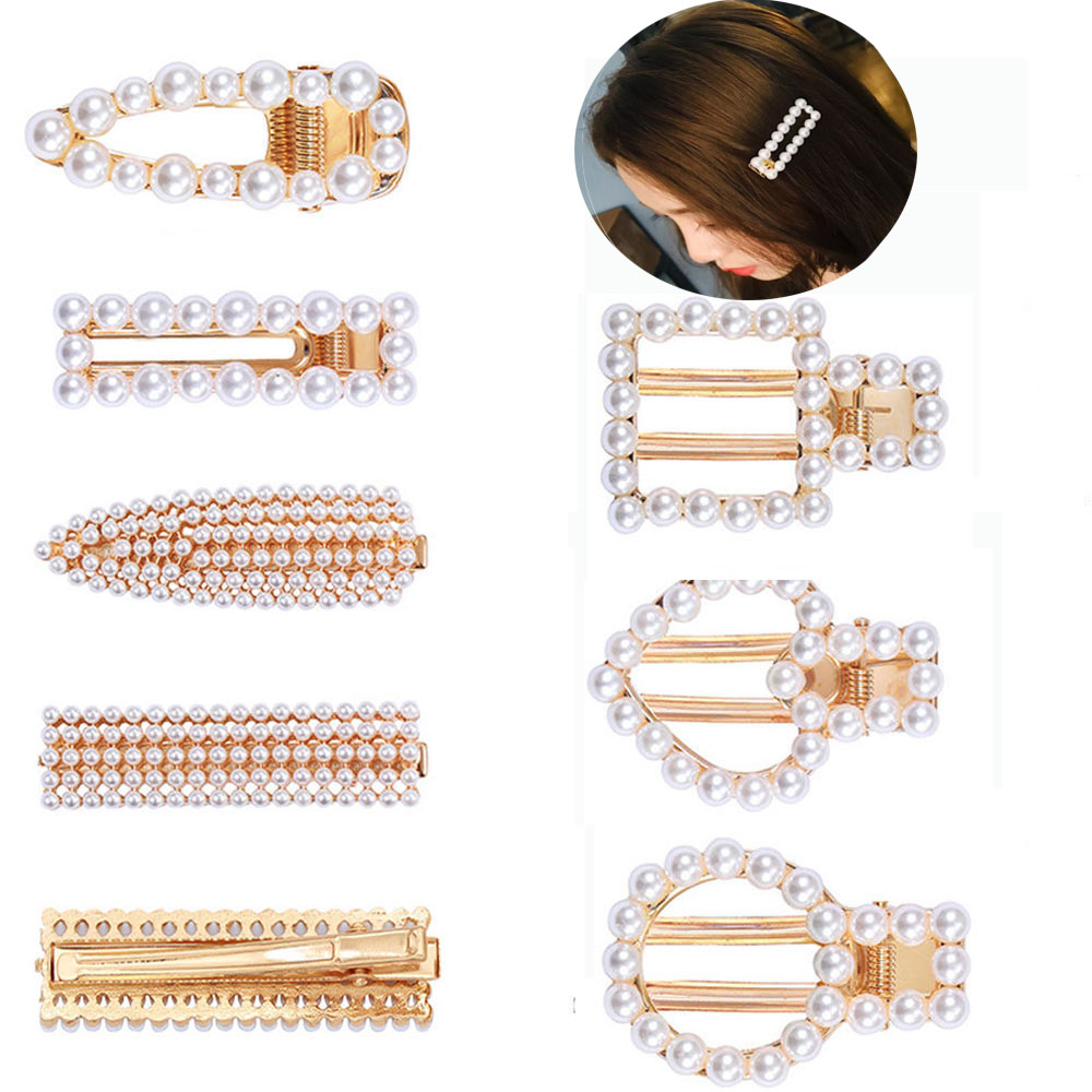 Fashion Crystal Pearl Hair Clip Metal Hairclip Elegant Barrette Bobby Hair Pins Wedding Hair Styling Tool Hair Clips For Women