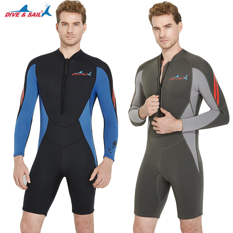 3MM Men's Scuba Diving Wetsuit One-piece Long Sleeve Front Zip Surfing Snorkeling Swimsuit Male Dive Winter Warm Wetsuits men s winter warm swimwear rashguard male camouflage one piece swimsuit 3mm neoprene wetsuit man snorkeling diving suit