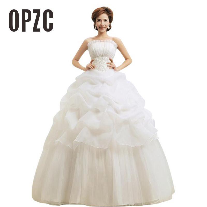 Hot Sale champagne White Wedding Dress Sweetange Korean Style Romantic Ruffles Lace and zipper Princess Red