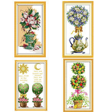 Magnolia Teapot Flowers Paintings Printed On Canva DMC 11CT 14CT Chinese Cross Stitch Patterns Kits Embroidery Needlework Sets(China)