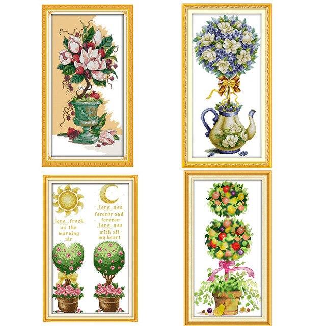Pinturas de flores de tetera de Magnolia impresas en Canva DMC 11CT ...