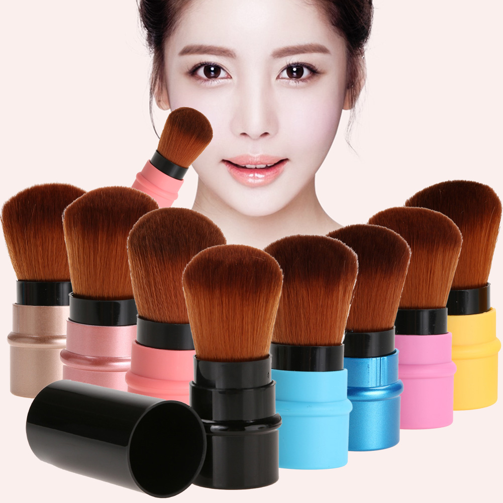 Retractable Makeup Brush Mini Portable Face Powder Contour Foundation Blusher Brush Professional Cosmetic Blending Tools retractable cosmetic makeup powder multifunction brush claret red
