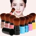 T2N2 Único Retráctil Mini Suave Cepillo Cosméticos de Maquillaje Contorno Colorete Fundación Face Powder Cepillos Herramientas de Belleza
