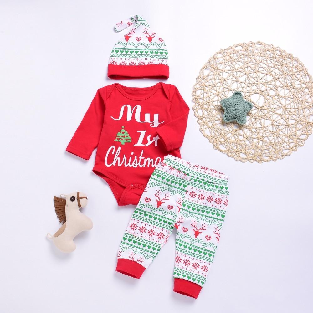 Newborn Baby Girl Boy Christmas Romper Top Jumpsuit Pants Hat Outfit Clothes Set