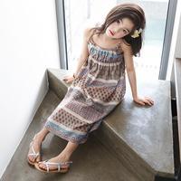 Summer Bohemian Style Girls Dress Floral Shoulderless Beading Sundress For Girls Beach Dress Clothes Vestido Infantil