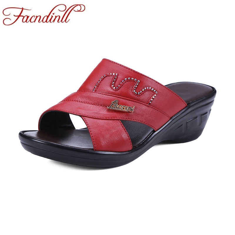 Concise summer shoes fashion genuine leather wedges women sandals simple open toe high heels lady casual date platform slippers facndinll fashion summer flat shoes woman platform sandals 2018 new wedges high heels open toe women casual date dress sandals