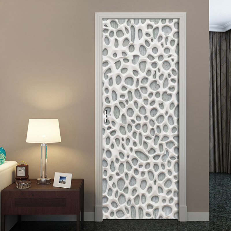 DIY Door Sticker 3D Nordic Modern Plaster Hollow Mural Wallpaper PVC Self-adhesive Wall Decal Living Room Door Home Decor Poster