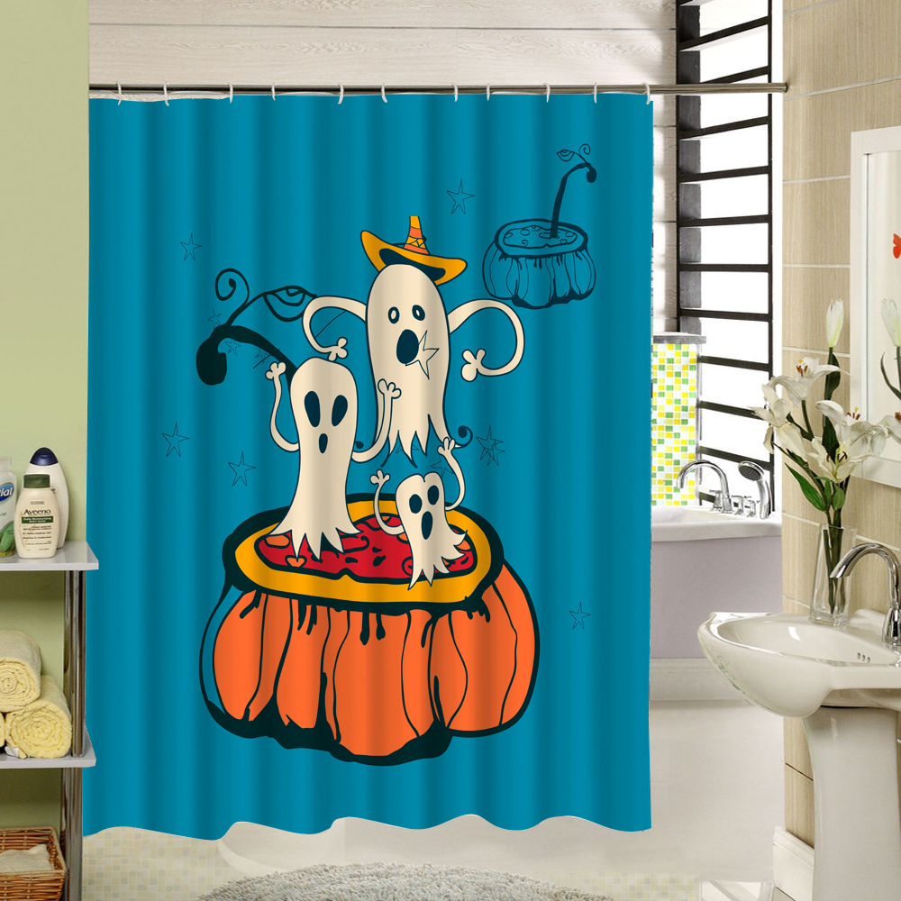 Three Terrorable Monster Halloween Festival Pattern Waterproof Shower Curtain Washable for Home Bathroom Window Horror Product