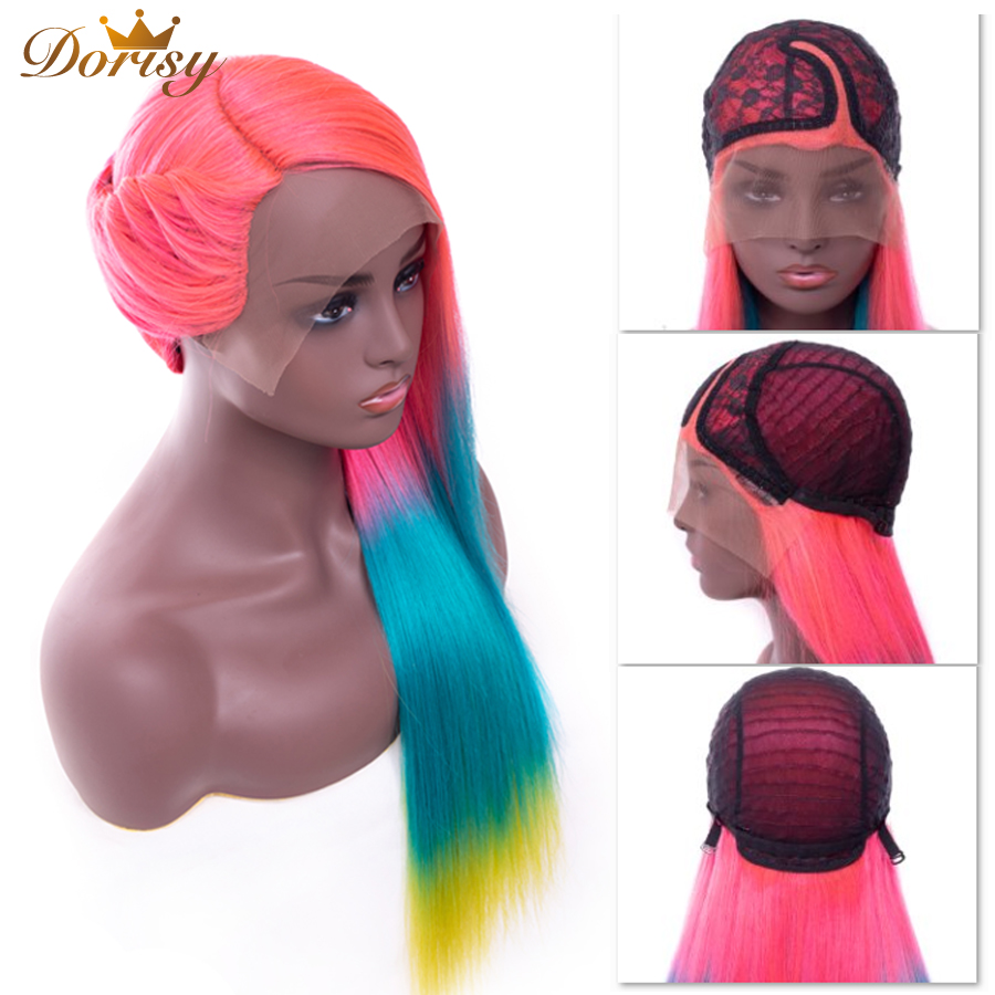 Human Hair Wigs L Part Lace Human Hair Wigs For Black Women Ombre Pink Blue Yellow Mix Color Wigs Remy Hair Peruvian Lace Wig