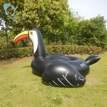 250cm 98Inch Giant Inflatable Black Tucon  Pool Floats Ridable Swim Pool Toy Water  Fun Swim Rings Air Rafts for Summer