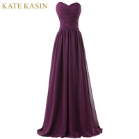 Long Purple Evening Dresses 2017 Chiffon Party Gowns Sexy Floor Length Strapless Pleated Women Formal Prom Dress Evening Gown