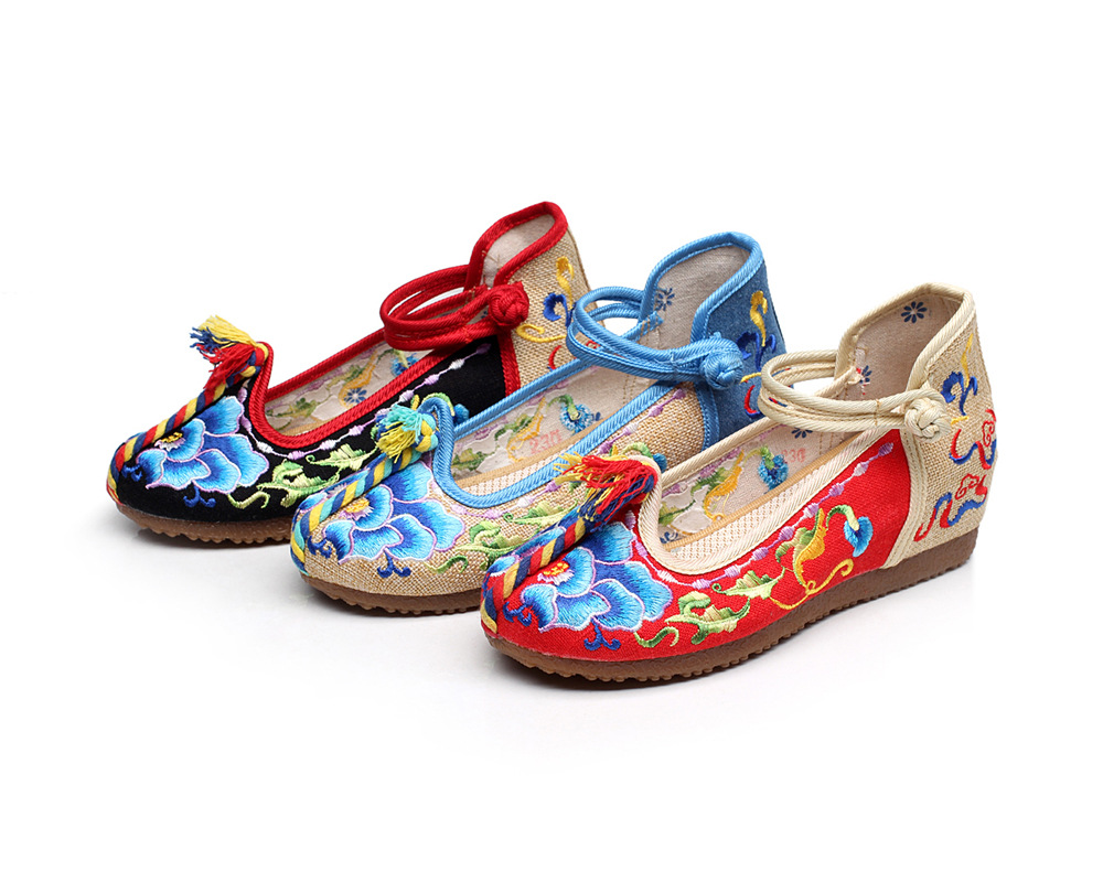 2017 Old Beijing Embroidered Women Shoes Mary Jane Flat Heel Denim Chinese Style Casual Cloth Plus Size canvas Shoes Woman