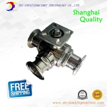high platform sanitary stainless steel ball valve,3 way Quick-installed/food grade clamp ball valve_316 T port 1 1/4″ DN25 valve