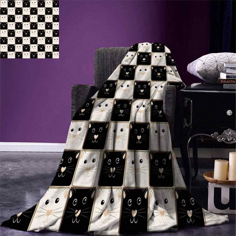 Checkers Game Throw Blanket Checkered Squares with Cute Cat Faces in Classic Game Board Pattern Warm Microfiber
