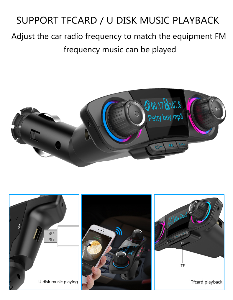 ANLUD FM Transmitter Bluetooth Handsfree Car Kit Aux Modulator Radio FM Car Audio TF AUX MP3 Player (9)
