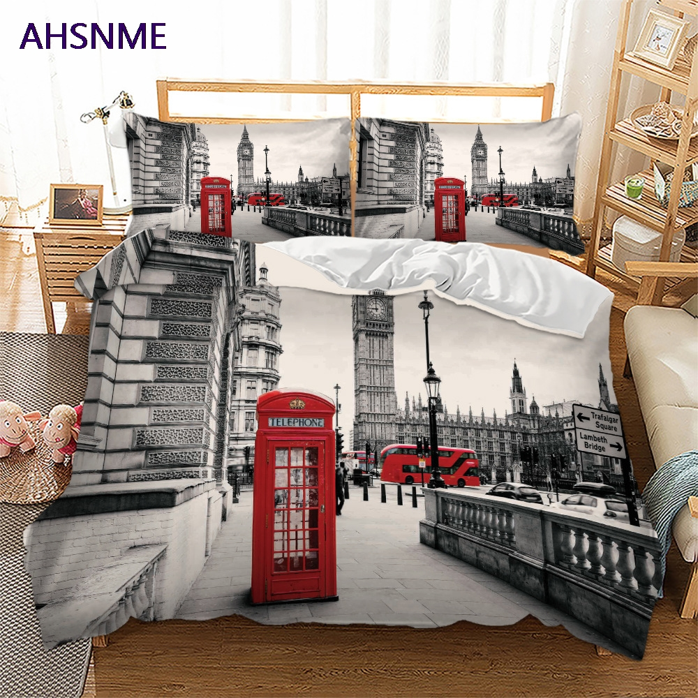 AHSNME Summer Special Offer 3D Effect London Street Cover Set Bedding Set Romantic London Phone Booth King Queen Bed Set