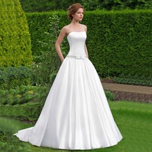 Scoop Neck Smooth Satin A Line Wedding Dress With Crystal Beading Band