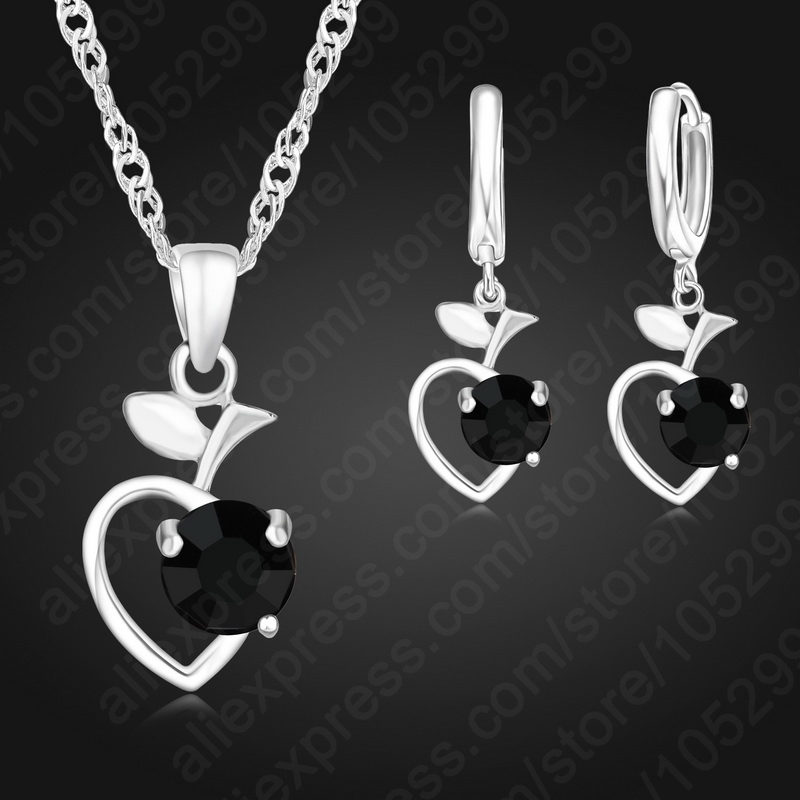 PATICO Trendy Black Color Heart Pendant CZ Rhinestone Jewelry Set For Women Engagement Wedding Free Shipping