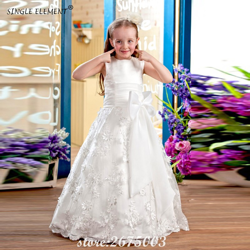 SINGLE ELEMENT 100% Real Bow Belt Lovely White Ivory   Flower     Girl     Dresses