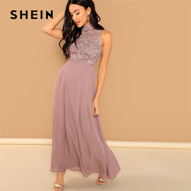 99d9bd60cd SHEIN Pink Guipure Lace Overlay Bodice Maxi Dress Elegant Plain Stand  Collar Sleeveless Party Dresses Women