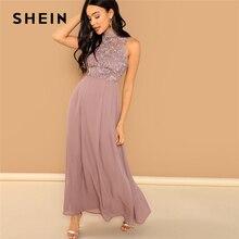 SHEIN różowy gipiury koronkowy gorset stanik Maxi sukienka elegancki zwykły stojak kołnierz bez rękawów sukienek kobiety jesień linia sukienka
