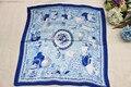 100% шелковый шарф, квадратный шарф, синий и белый, размер : 88 x 88