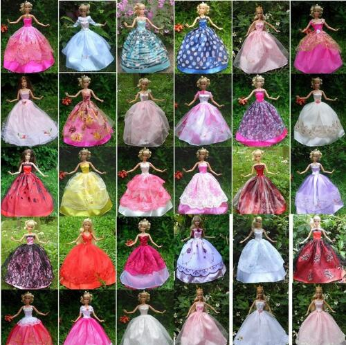 5 Pcs 1/6 Fashion Doll Clothes DIY Girl Playhouse Toys Gifts Dresses Grows Outfit For 30cm Doll Handmade Dress For Barbie