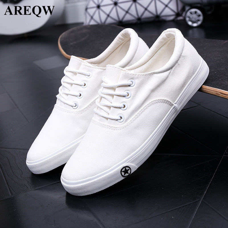 2017 new spring and summer students female canvas shoes Korean version of the small white shoes tie trend flat shoes pearl white canvas shoes shoes white shoes all match flat flat with lace shoes in autumn korean students