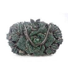 ผู้หญิงPochette Rhinestoneใหม่คริสตัลกระเป๋าคลัทช์เย็นกุหลาบดอกไม้เจ้าสาวพรรคกระเป๋าเจ้าสาวแฮนด์เมดS Tuddedกระเป๋าถือกระเป๋า