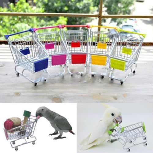 2017 Real Sale Parrot Toys Bird Toys Parrot Bird Mini Supermarket Shopping Cart Trolley Phone Holder Storage Kids Toy Al3276