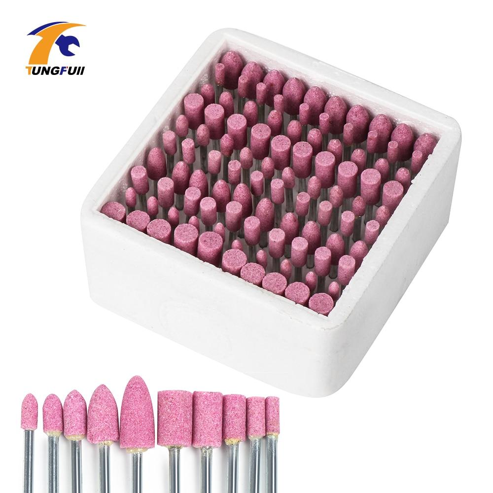 100 sztuk / zestaw Wiertło Głowica Szlifierska Assorted Ceramiczne Zamontowany Punkt Dla Dremel Mini Wiertła Narzędzia Obrotowe Ścierne Zamontowany Kamień