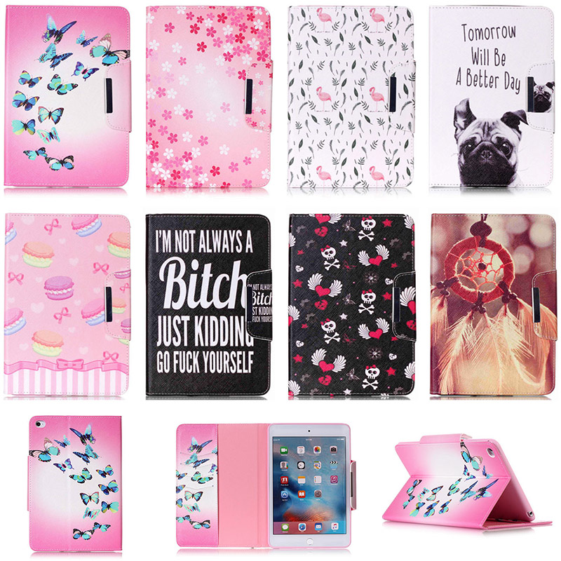 For Apple iPad Air 2 9.7 inch Case Fashion Cartoon Dog Butterfly Flower Pattern PU Leather Flip Tablet Shell For iPad 6 Funda fashion cartoon pattern flip cover for apple ipad air 1 ipad 5 case funda tablet soft tpu silicone pu leather stand skin shell