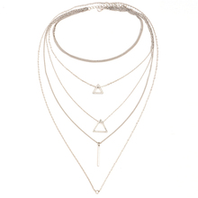 Women Multi-layer Necklace Chain Triangle Pendant Choker Alloy strip pendant multi-layer female Jewelry