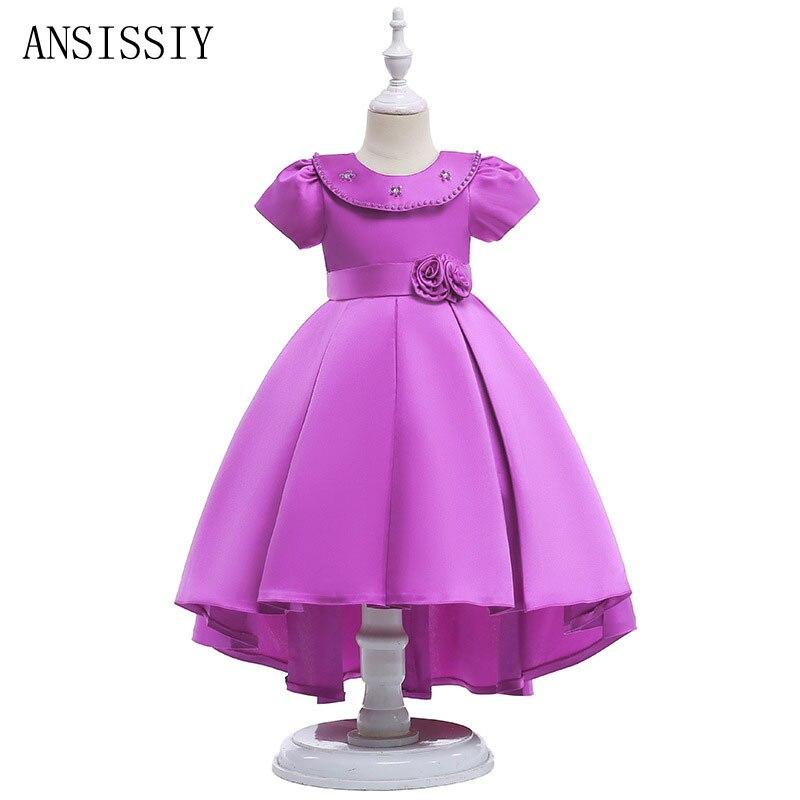 Été princesse enfants fantaisie robe de mariée robe de bal traînant Vestido tissu adolescents vêtements de fête enfants vêtements pour 4-9 ans