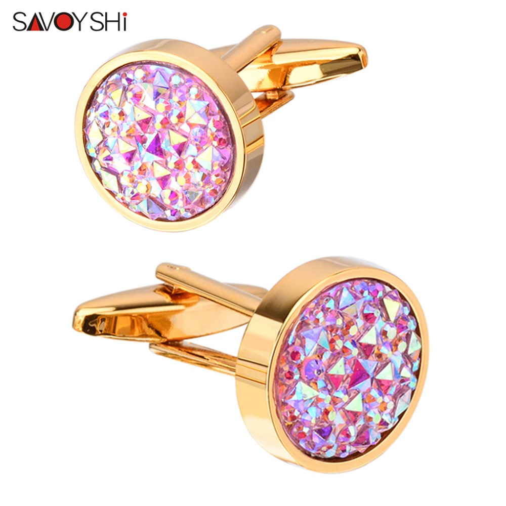 SAVOYSHI Newest Shirt Cufflinks For Mens Gift Cuff Buttons High Quality Round Colorful Stone Cuff Links Wedding Jewelry