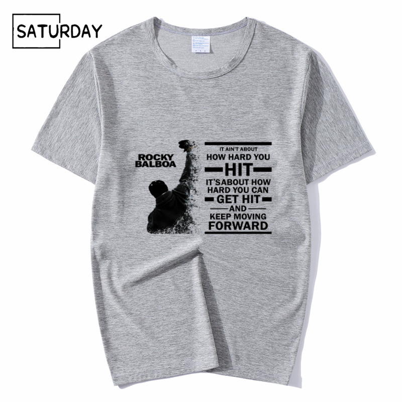 Men 39 s Rocky Film ROCKY BALBOA T shirts Unisex Summer Casual Grey Tee Shirt Boy Girl Harajuku Clothes Mens Graphic Tees in T Shirts from Men 39 s Clothing