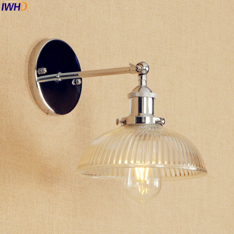 Retro Loft Industrial Wall Lights For Home Indoor Lighting Silver Glass Wandlamp Adjustable Long Arm Wall Lamp Vintage Sconce brass glass wall lights led vintage edison american home stair lighting living room adjustable arm industrial wall lamp sconce