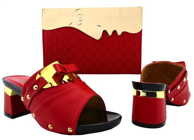 Beautiful r women shoes kitten heel 7CM and bag set for african shoes match handbag set for dress BCH-26