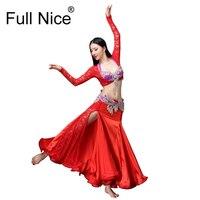 New Performance Dancewear Bellydance Clothes Professional Women Egyptian Belly Dance Bra Belt Skirt Oriental Beaded Belly Dance