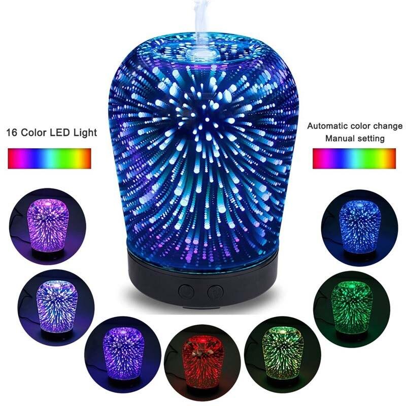 12 Watt 100-240 V 100 ml 3D Licht Ätherisches Öl Aroma Diffusor ultra-leise Tragbare Ultraschall-luftbefeuchter aromatherapie