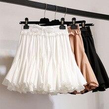 Женская плиссированная шифоновая Мини-юбка с высокой талией, черно-белое бальное платье, женская короткая юбка, летняя школьная Свободная Женская юбка на пуговицах